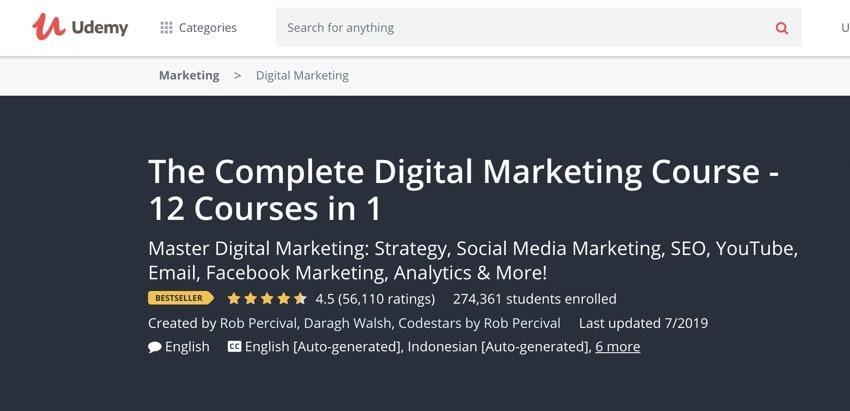 udemy - best digital marketing course